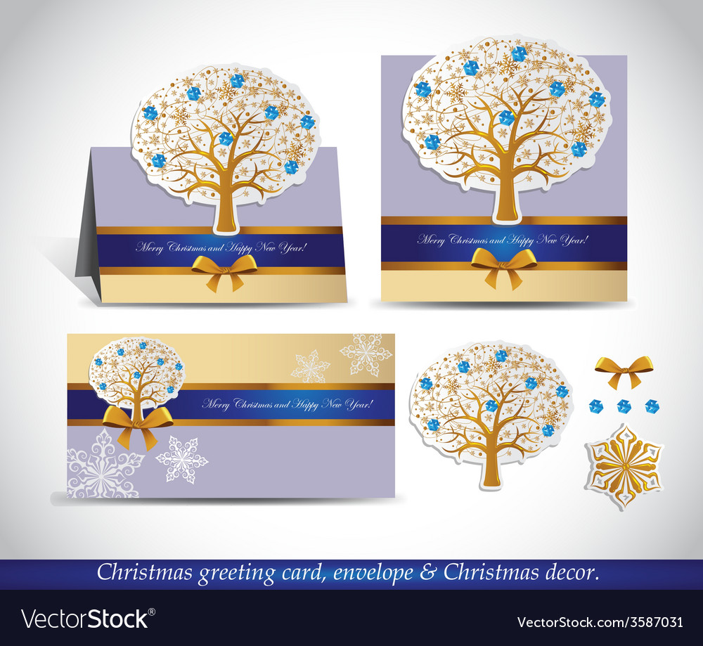 Greeting cards with golden ornate winter tree vector | Price: 1 Credit (USD $1)