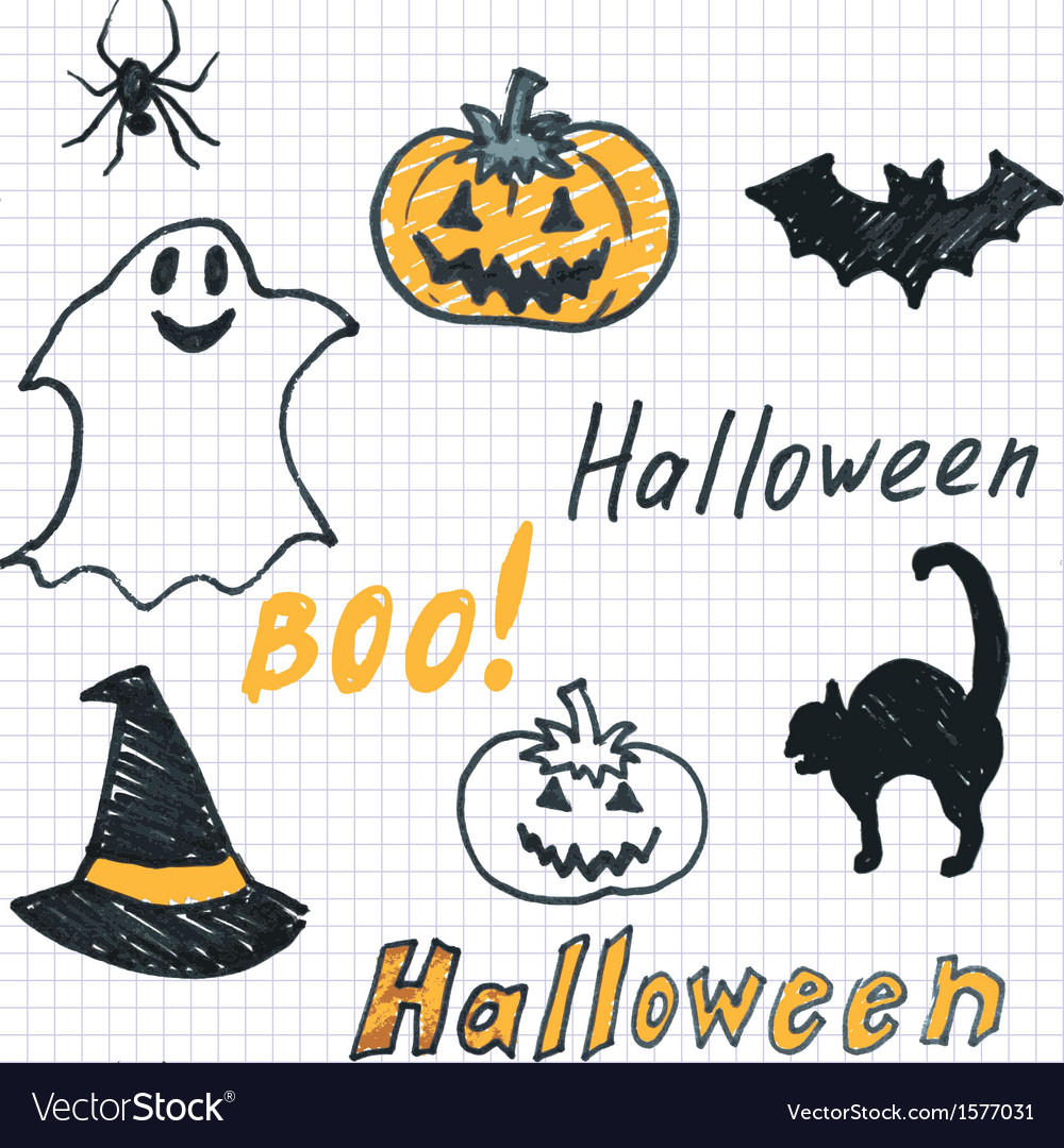 Halloween background with doodle vector | Price: 1 Credit (USD $1)