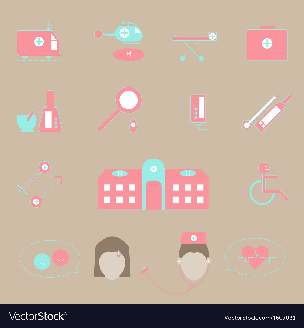 Hospital and emergency color icons on brown vector | Price: 1 Credit (USD $1)