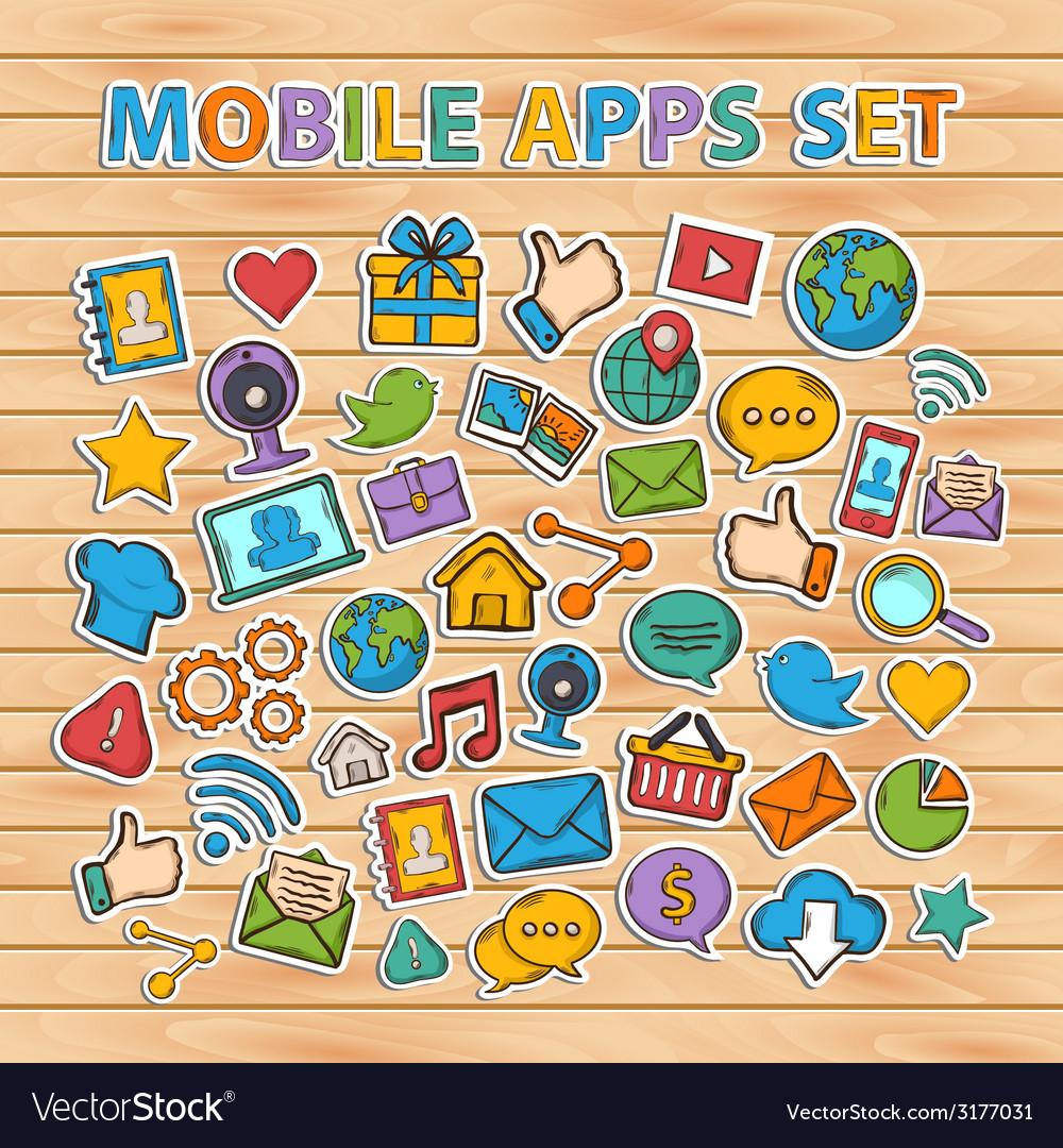 Mobile apps scrap setscrapbook setsticker vector | Price: 1 Credit (USD $1)