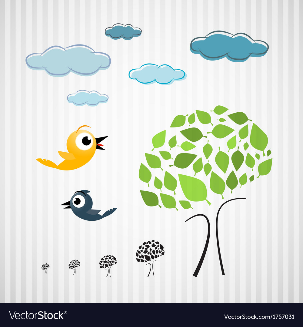 Paper trees birds and clouds on cardboard vector | Price: 1 Credit (USD $1)