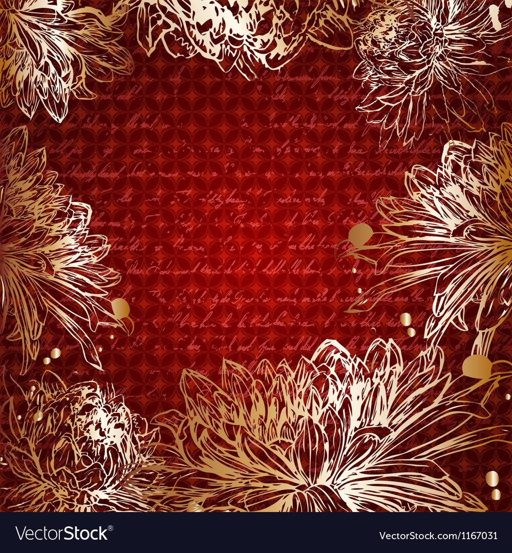 Retro card with golden flowers and place for text vector | Price: 1 Credit (USD $1)