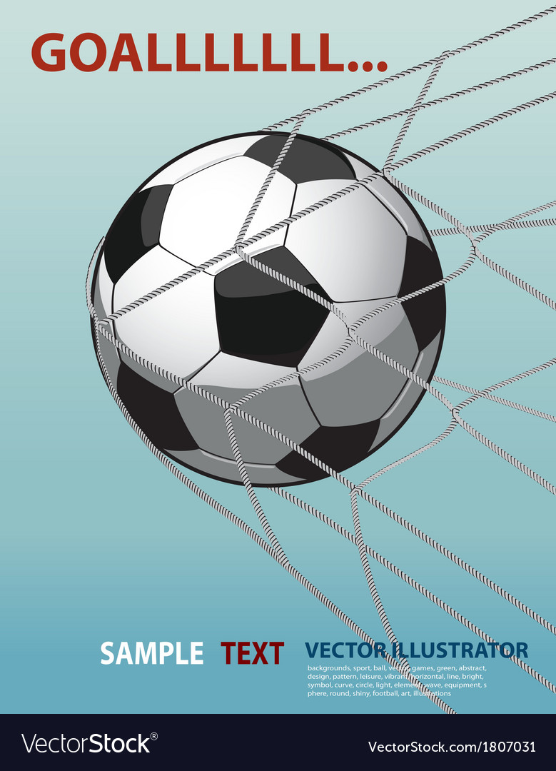 Soccer ball in the goal net on the blue background vector | Price: 1 Credit (USD $1)