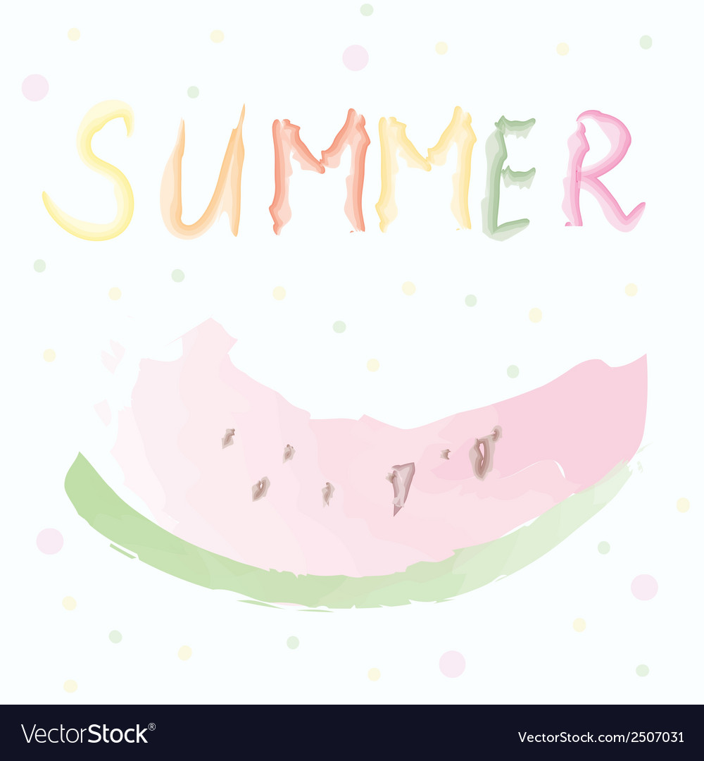 Summer card with watermelon - watercolor design vector   Price: 1 Credit (USD $1)