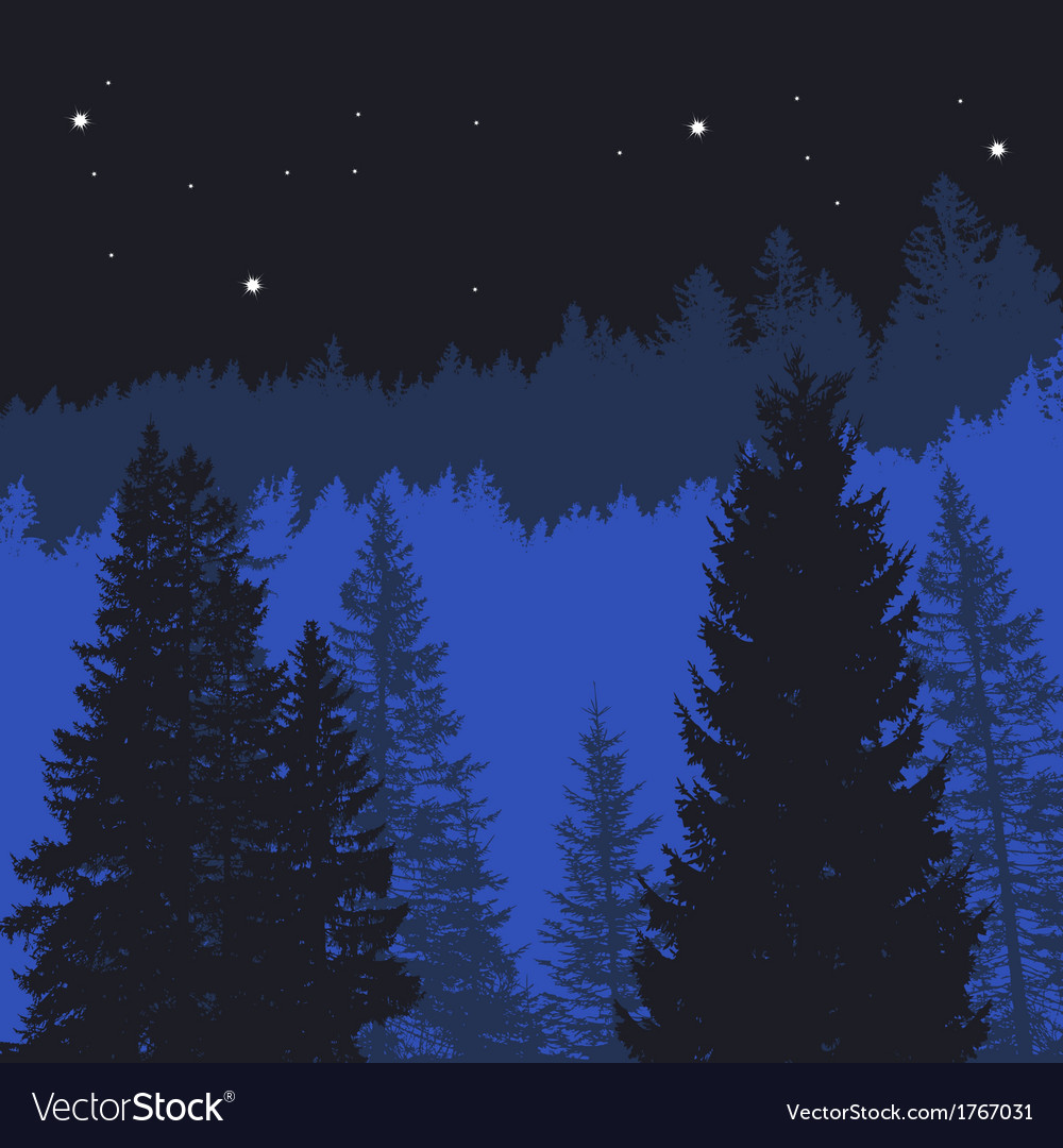 Tree silhouettes on a mountain background vector