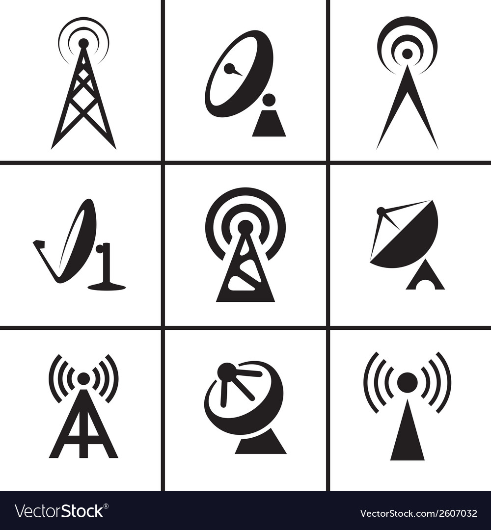 Antenna and satellite dish icons set vector | Price: 1 Credit (USD $1)
