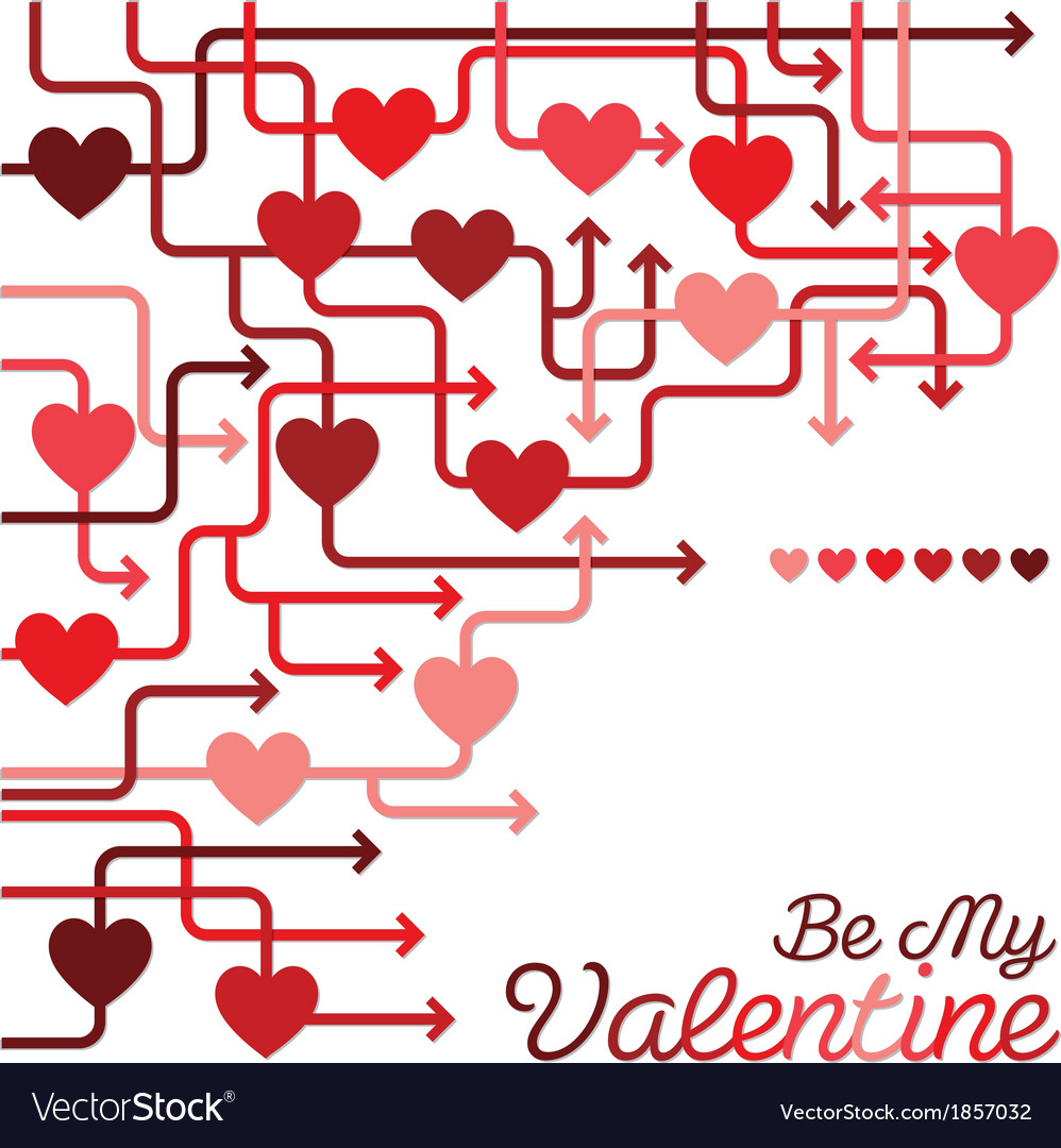 Be my valentine heart maze in format vector | Price: 1 Credit (USD $1)
