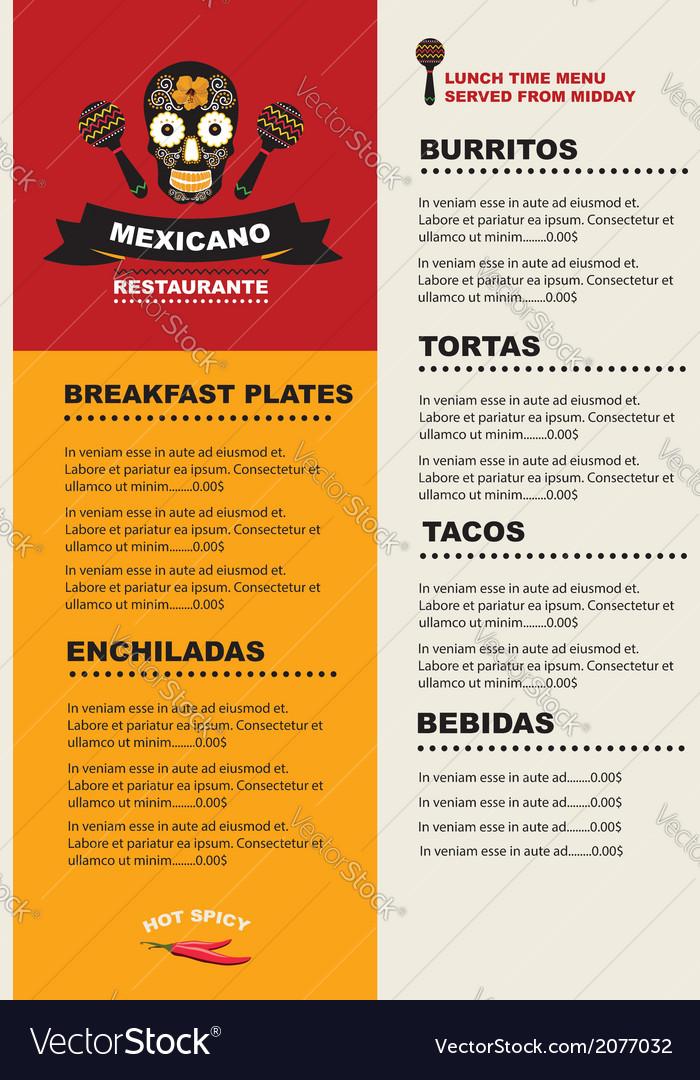 Cafe menu mexican template design vector   Price: 1 Credit (USD $1)