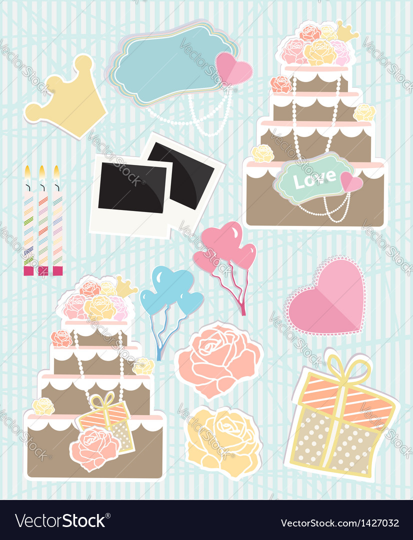 Collection of love themed objects vector | Price: 3 Credit (USD $3)