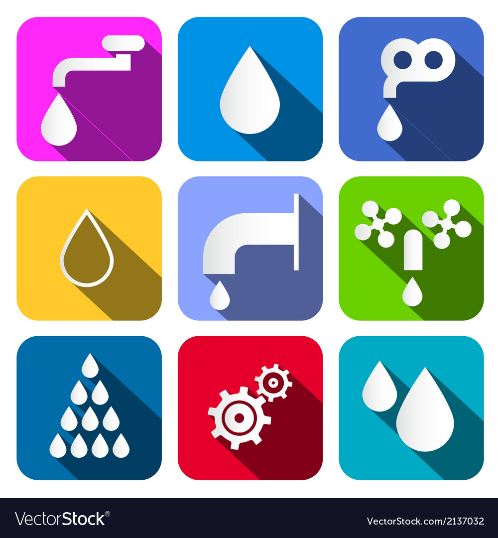 Colorful water symbols - icons set vector | Price: 1 Credit (USD $1)