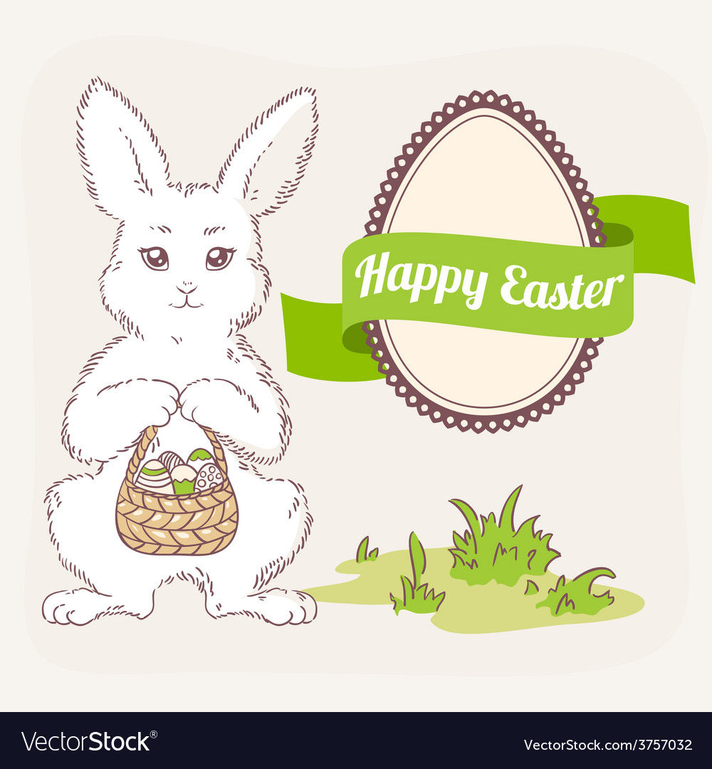 Easter bunny with basket egg label and ribbon vector | Price: 1 Credit (USD $1)