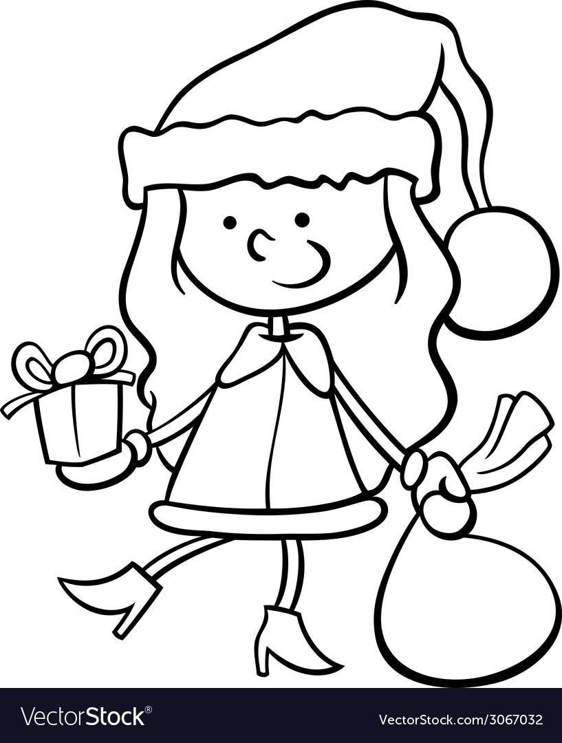 Santa claus kid cartoon coloring page vector | Price: 1 Credit (USD $1)