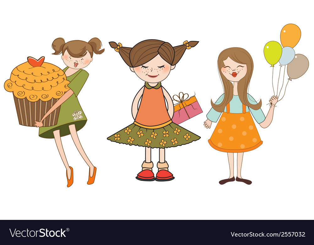 Set of three young girls with gifts isolated on vector | Price: 1 Credit (USD $1)