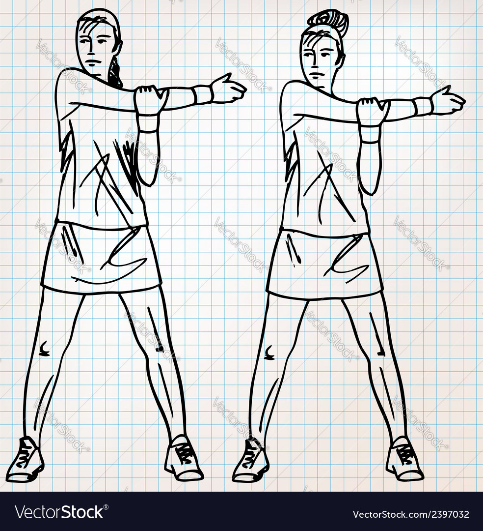 Stretching exercises sketch vector | Price: 1 Credit (USD $1)