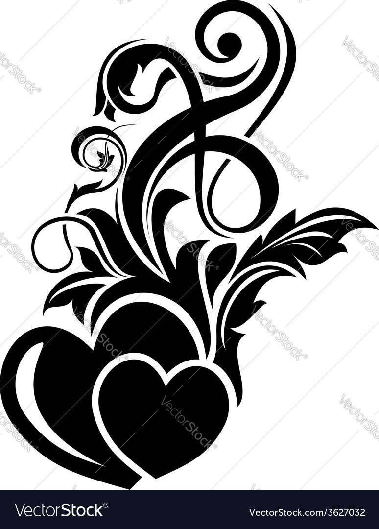 Valentine day floral design element vector