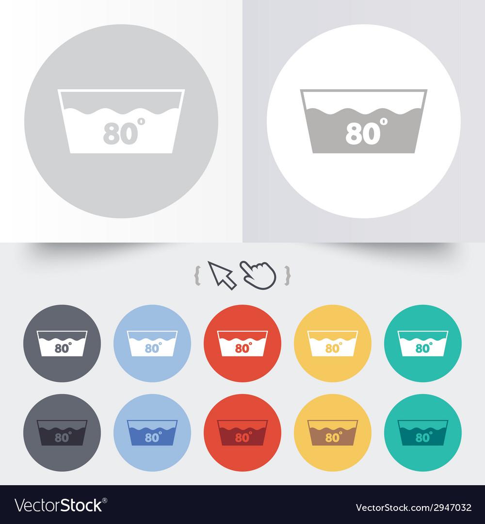 Wash icon machine washable at 80 degrees symbol vector   Price: 1 Credit (USD $1)