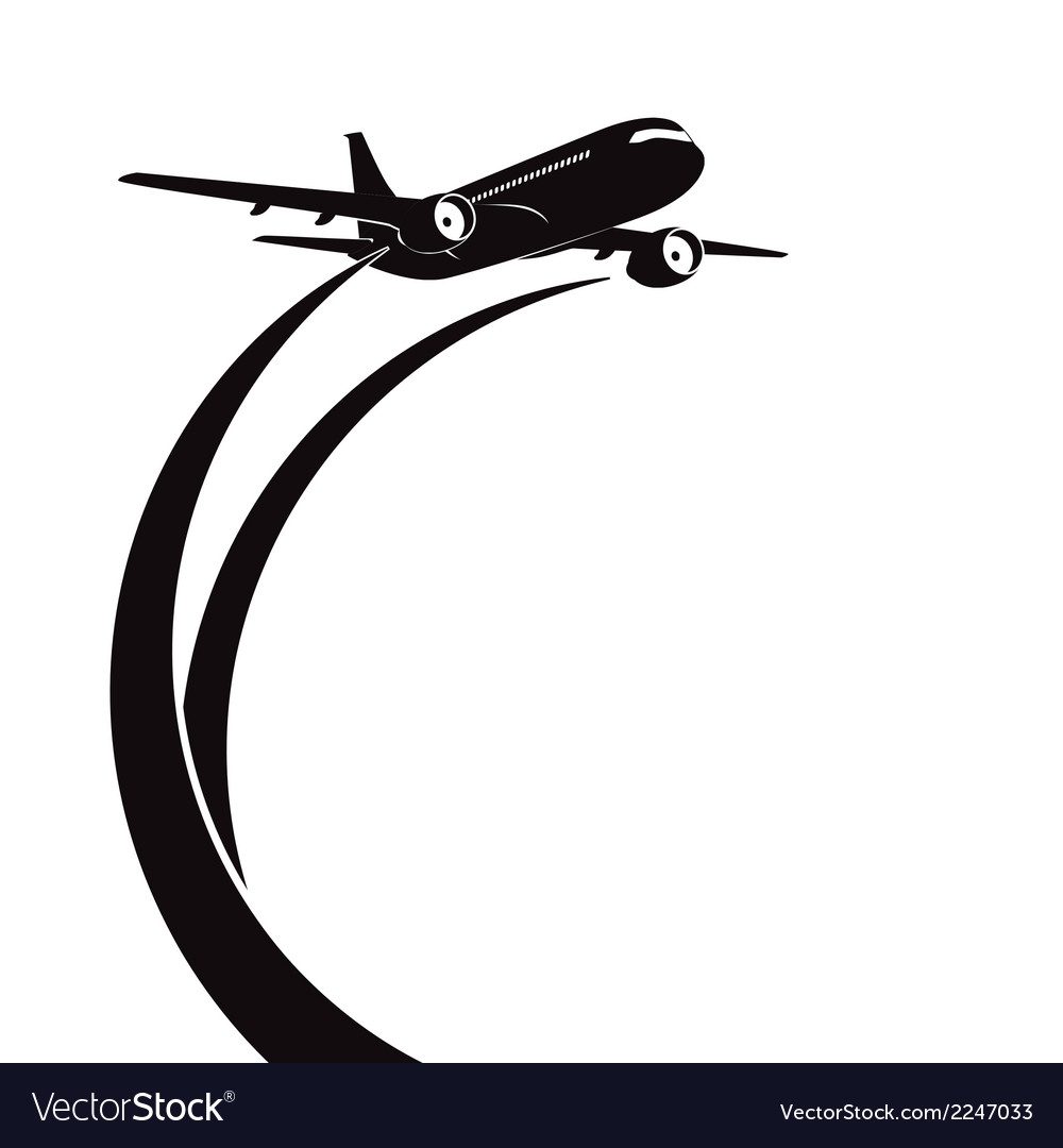 Airplane silhouette on white background vector | Price: 1 Credit (USD $1)