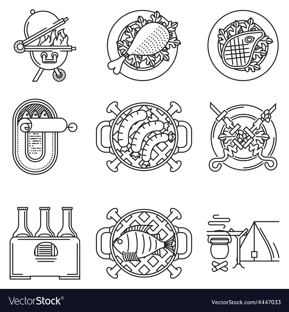 Black line icons for barbecue vector | Price: 1 Credit (USD $1)