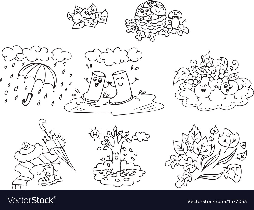 Coloring autumn elements for children vector | Price: 1 Credit (USD $1)