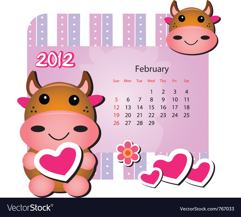February cow calendar vector | Price: 1 Credit (USD $1)