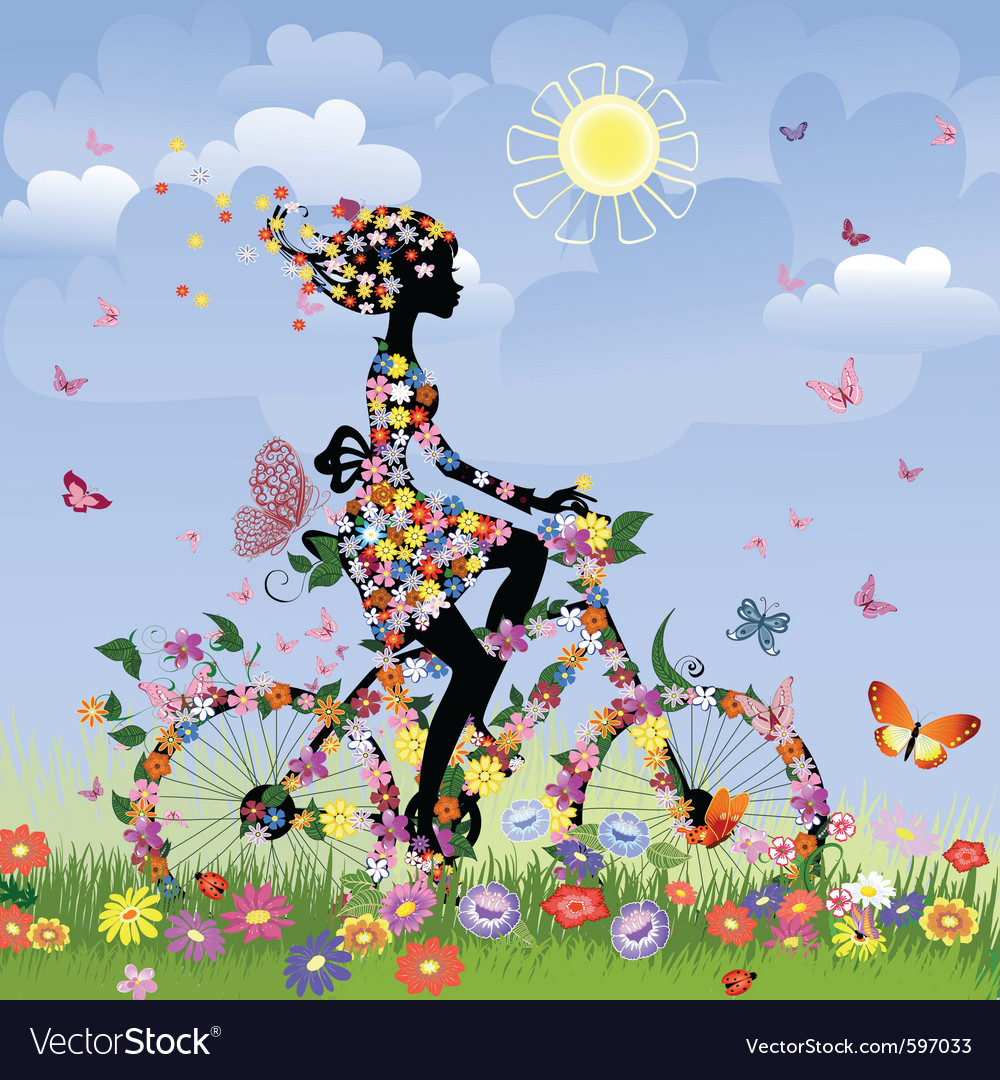 Flower bike girl vector | Price: 3 Credit (USD $3)