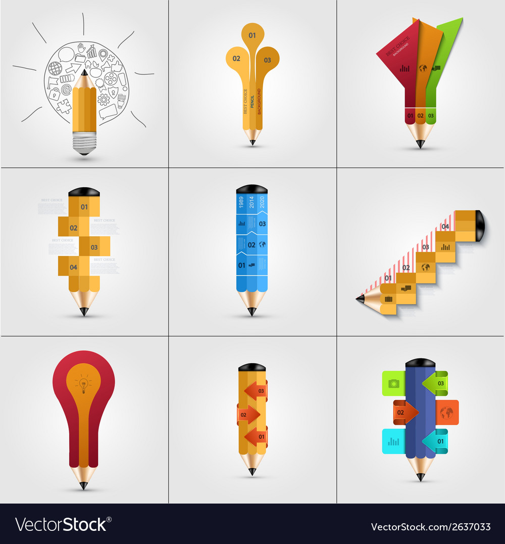 Modern pencil infographics set vector | Price: 1 Credit (USD $1)