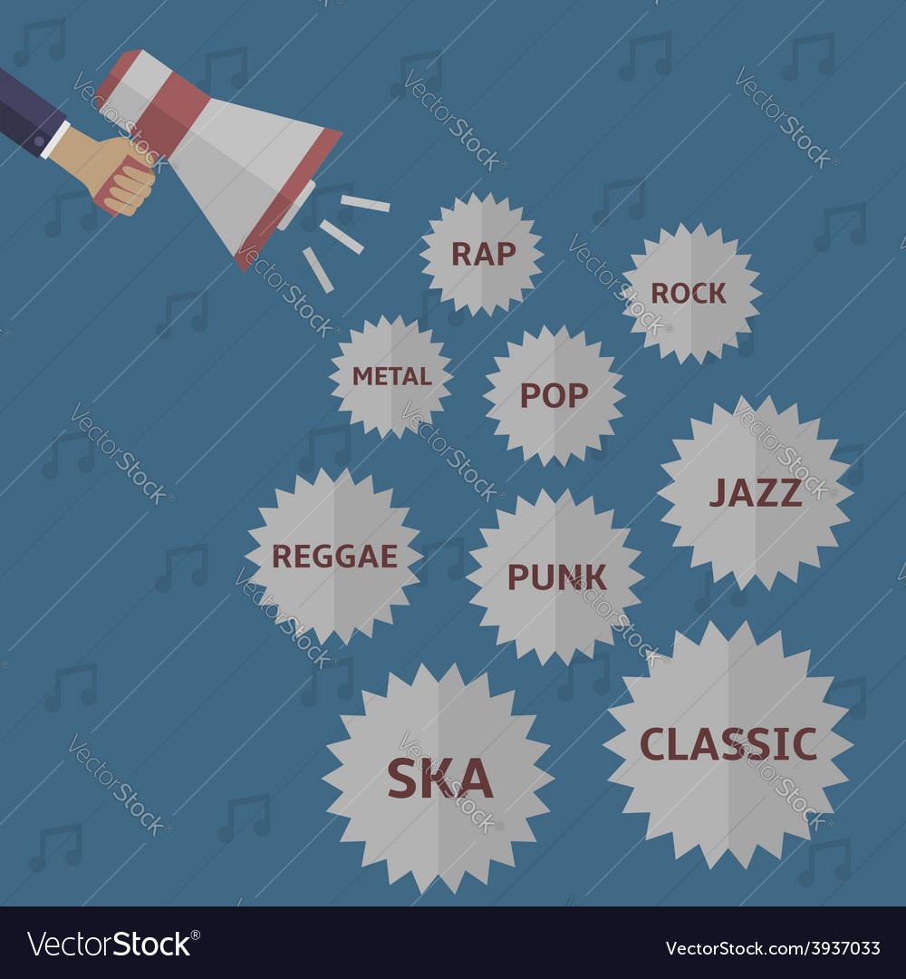 Music style icon set vector | Price: 1 Credit (USD $1)
