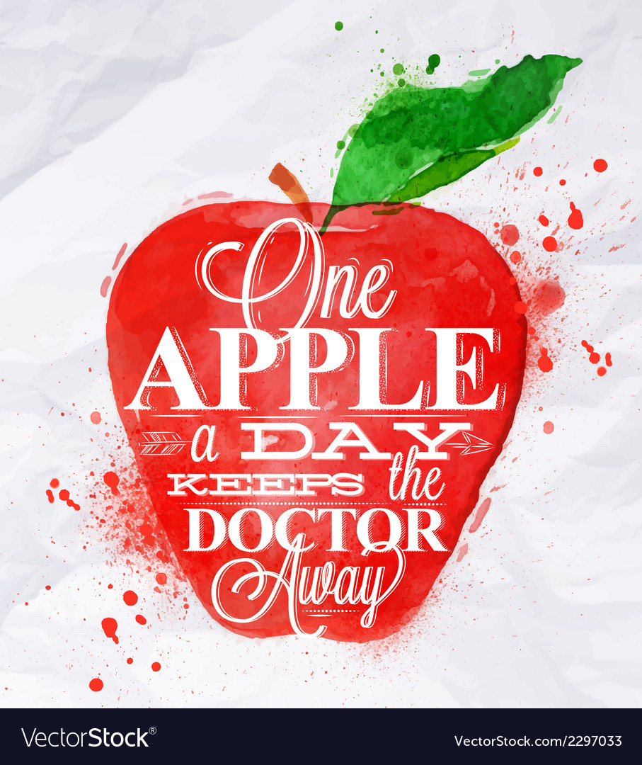 Poster watercolor apple red vector | Price: 1 Credit (USD $1)