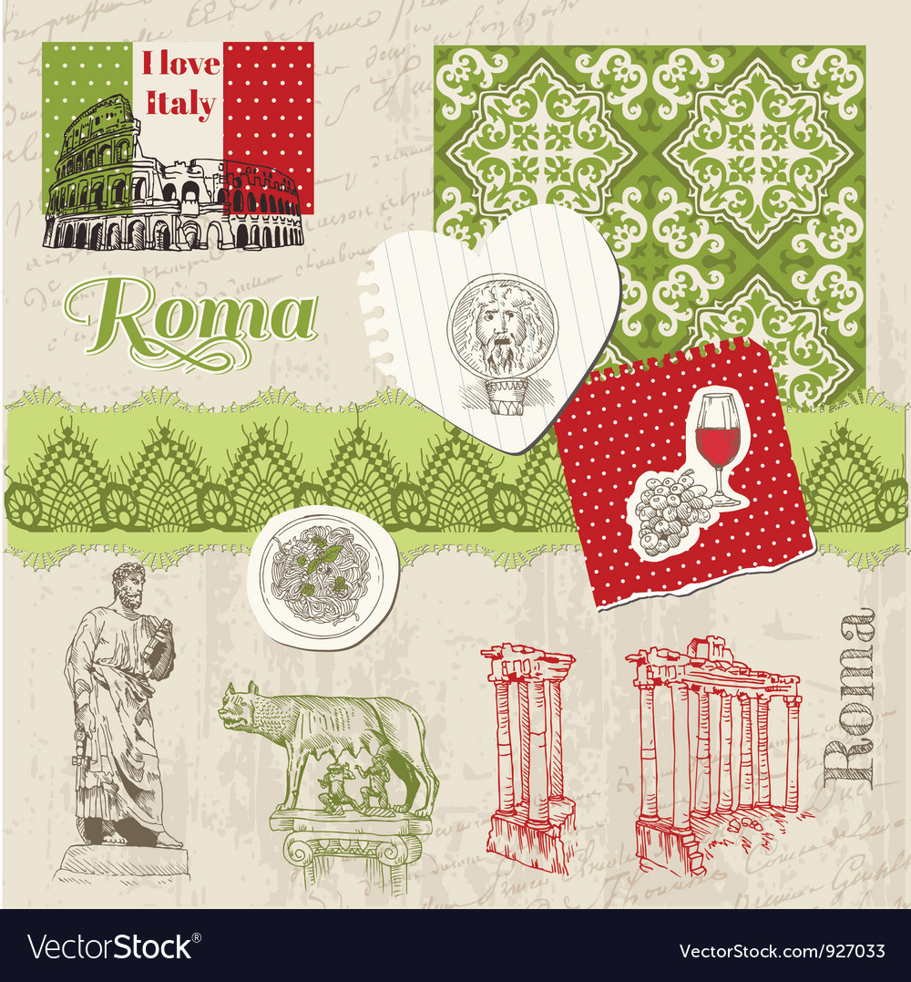 Scrapbook design elements - vintage italy vector | Price: 1 Credit (USD $1)