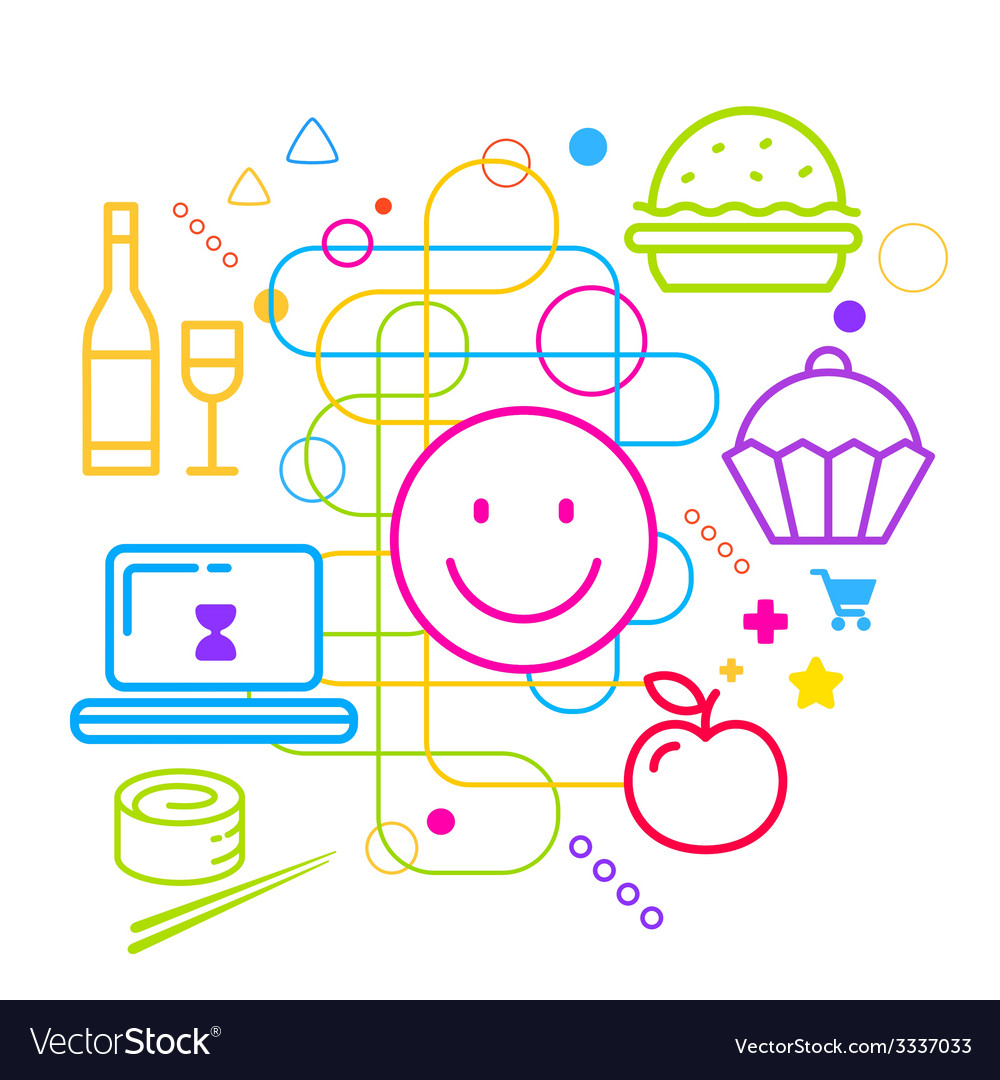 Symbols of ordering food via the internet on vector | Price: 3 Credit (USD $3)