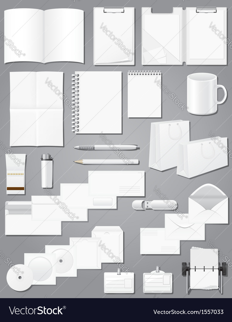 White blank samples for corporate identity design vector | Price: 1 Credit (USD $1)