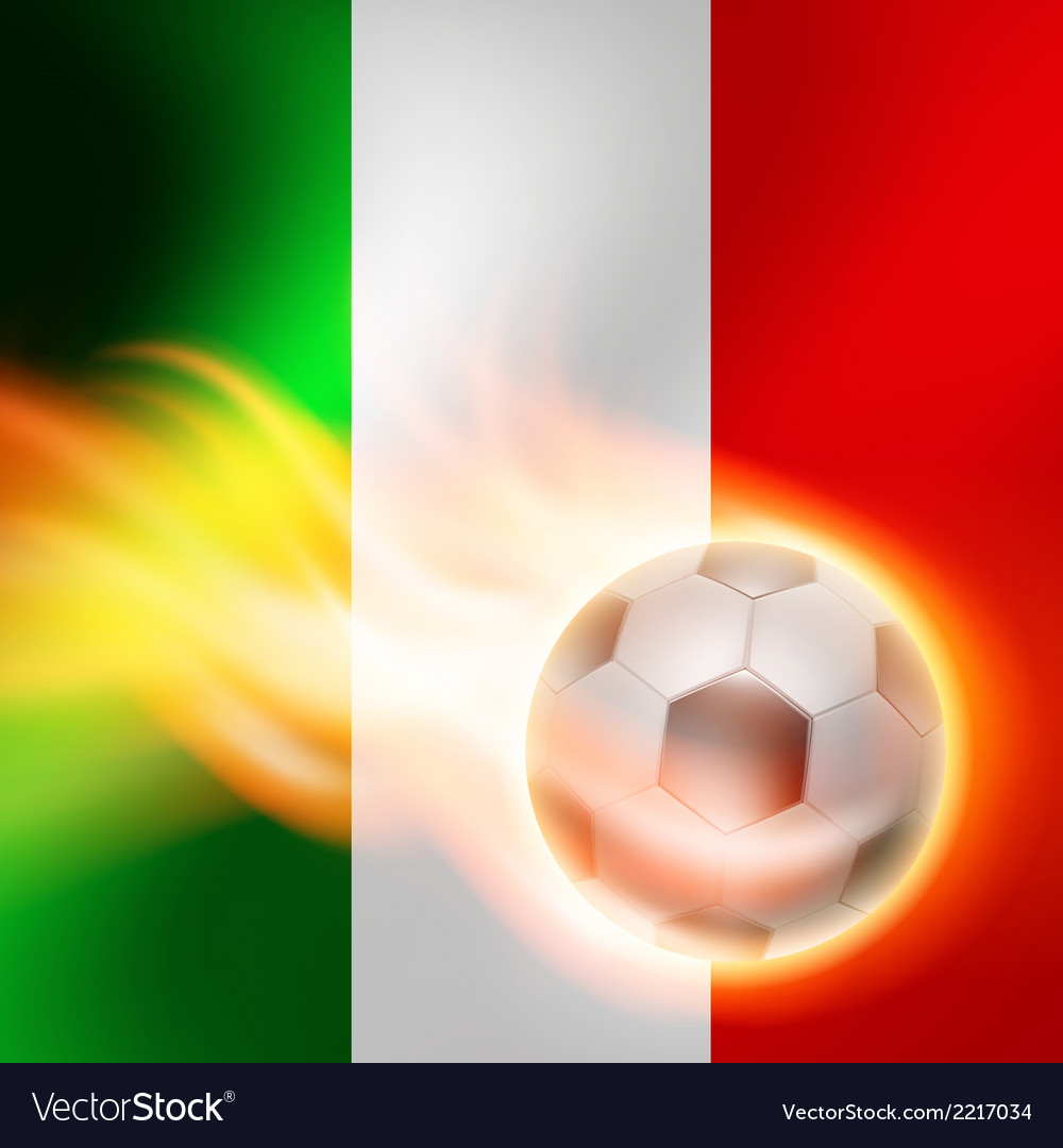 Burning football on italy flag background vector | Price: 1 Credit (USD $1)