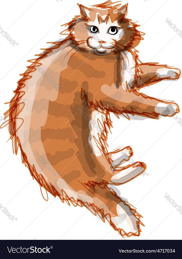 Cute orange cat sketch for your design vector | Price: 1 Credit (USD $1)