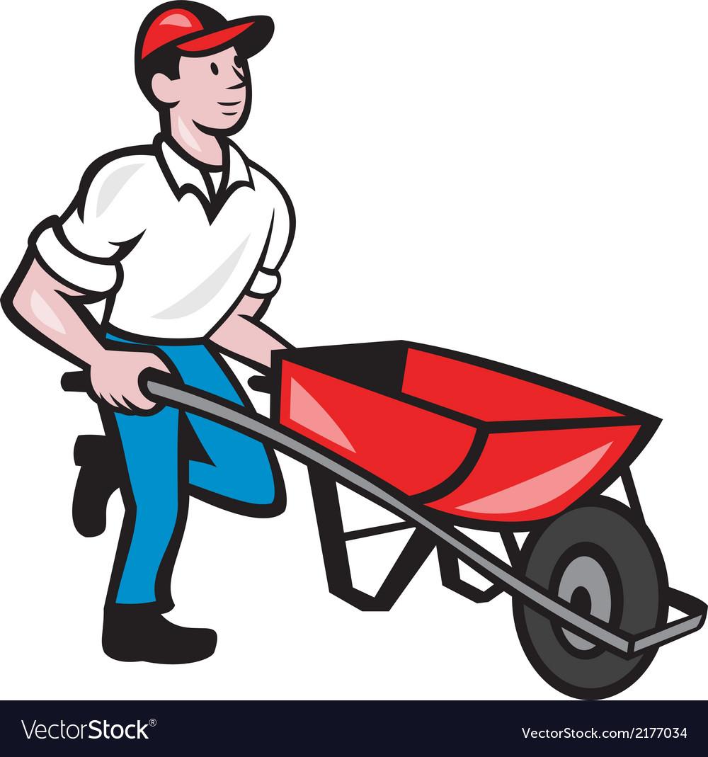 Gardener pushing wheelbarrow cartoon vector   Price: 1 Credit (USD $1)