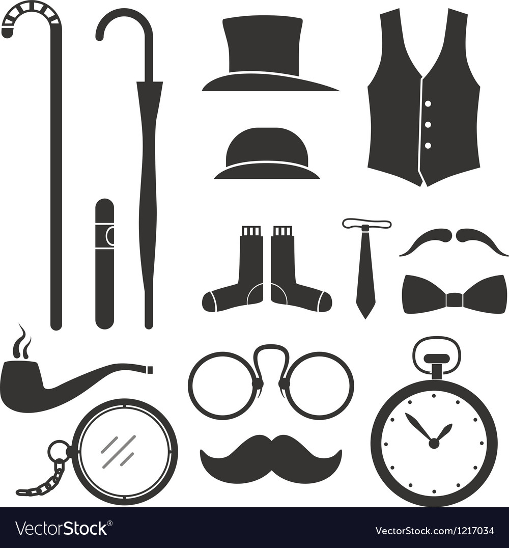 Gentlemens vintage stuff design elements collectio vector | Price: 1 Credit (USD $1)