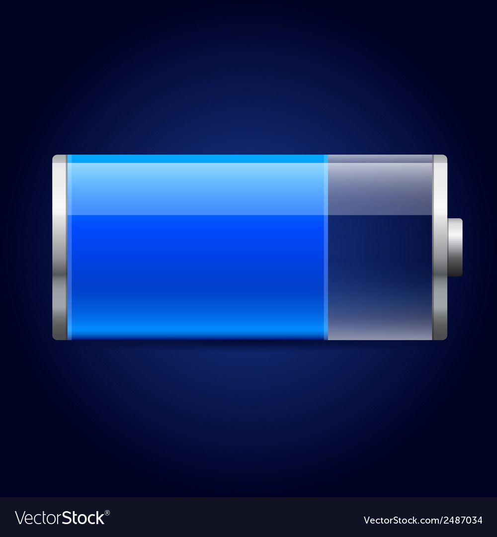 Glossy blue battery icon vector | Price: 1 Credit (USD $1)