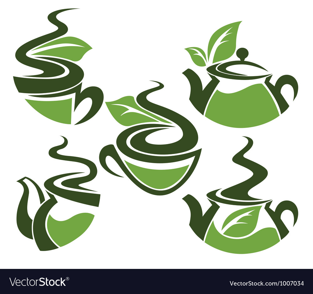 Herbal tea collection of cups and tea pots vector   Price: 1 Credit (USD $1)