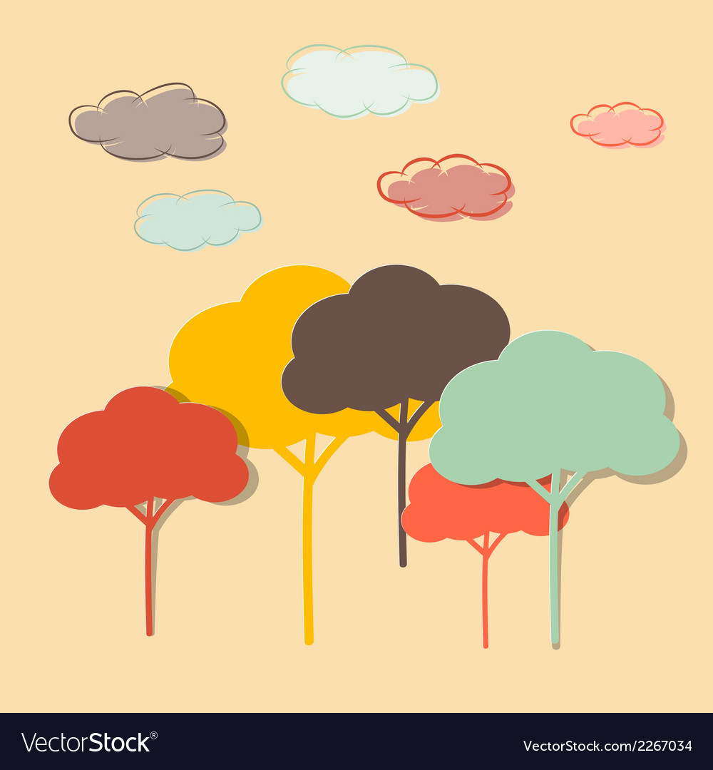 Retro paper colorful trees and clouds vector | Price: 1 Credit (USD $1)