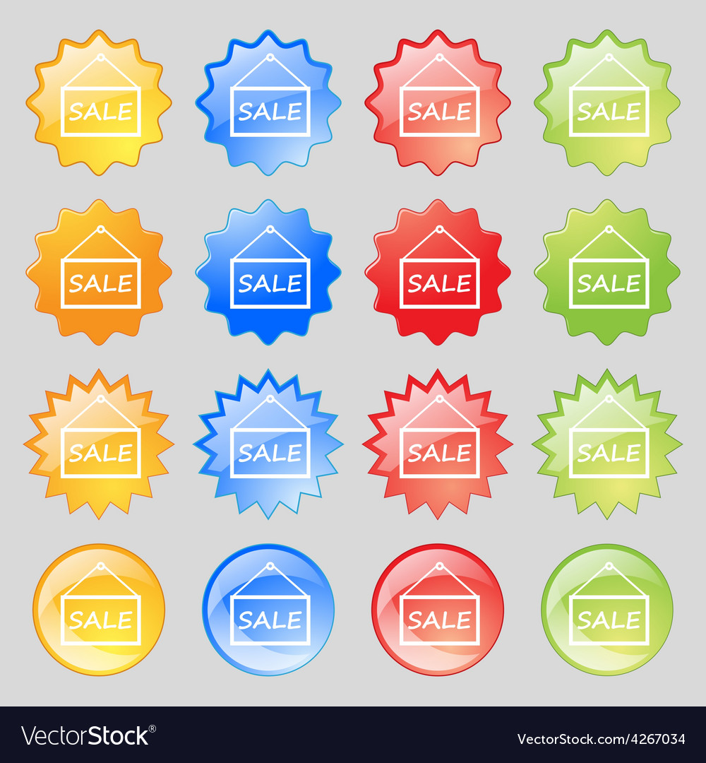 Sale tag icon sign big set of 16 colorful modern vector | Price: 1 Credit (USD $1)