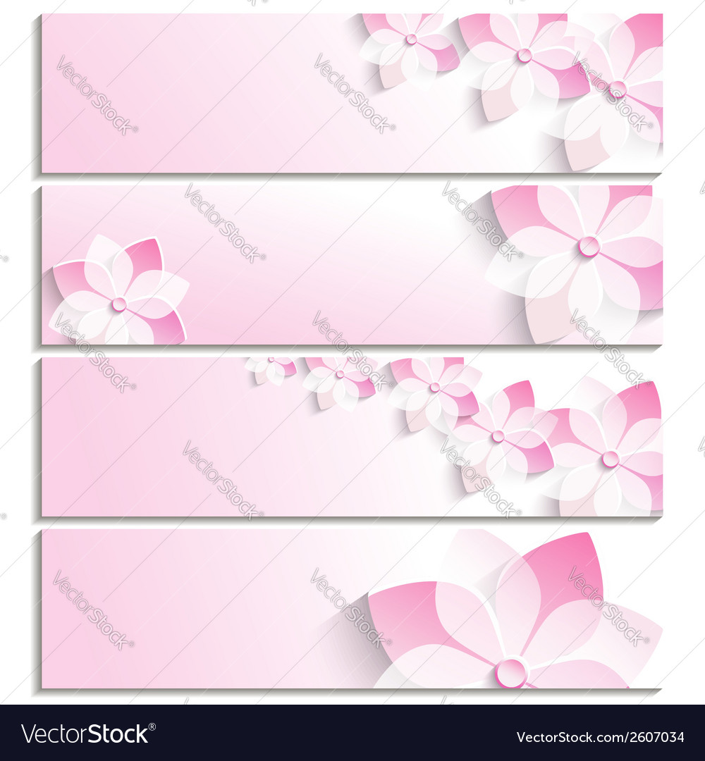Set of banners with sakura pink template vector | Price: 1 Credit (USD $1)