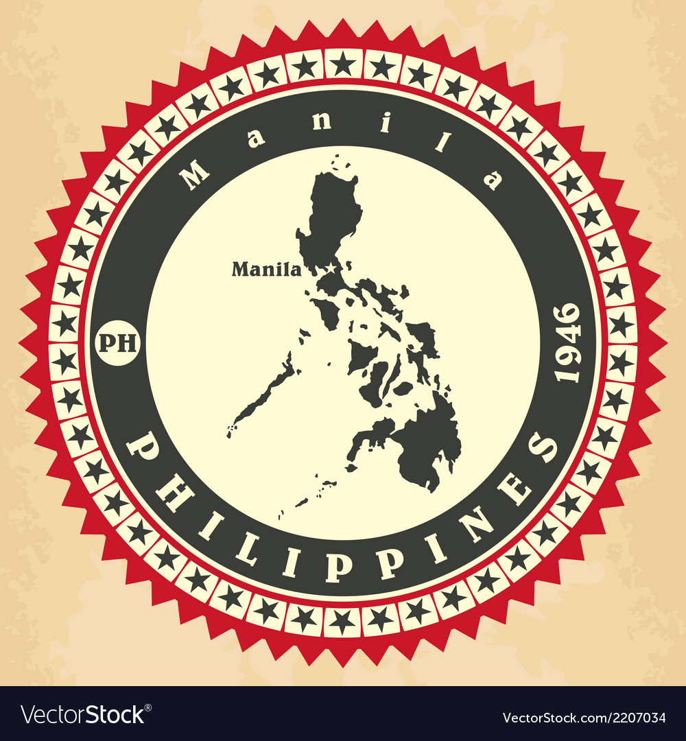 Vintage label-sticker cards of philippines vector | Price: 1 Credit (USD $1)