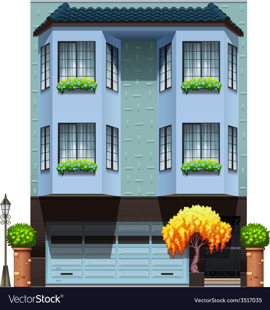 A building with decorative plants vector | Price: 3 Credit (USD $3)