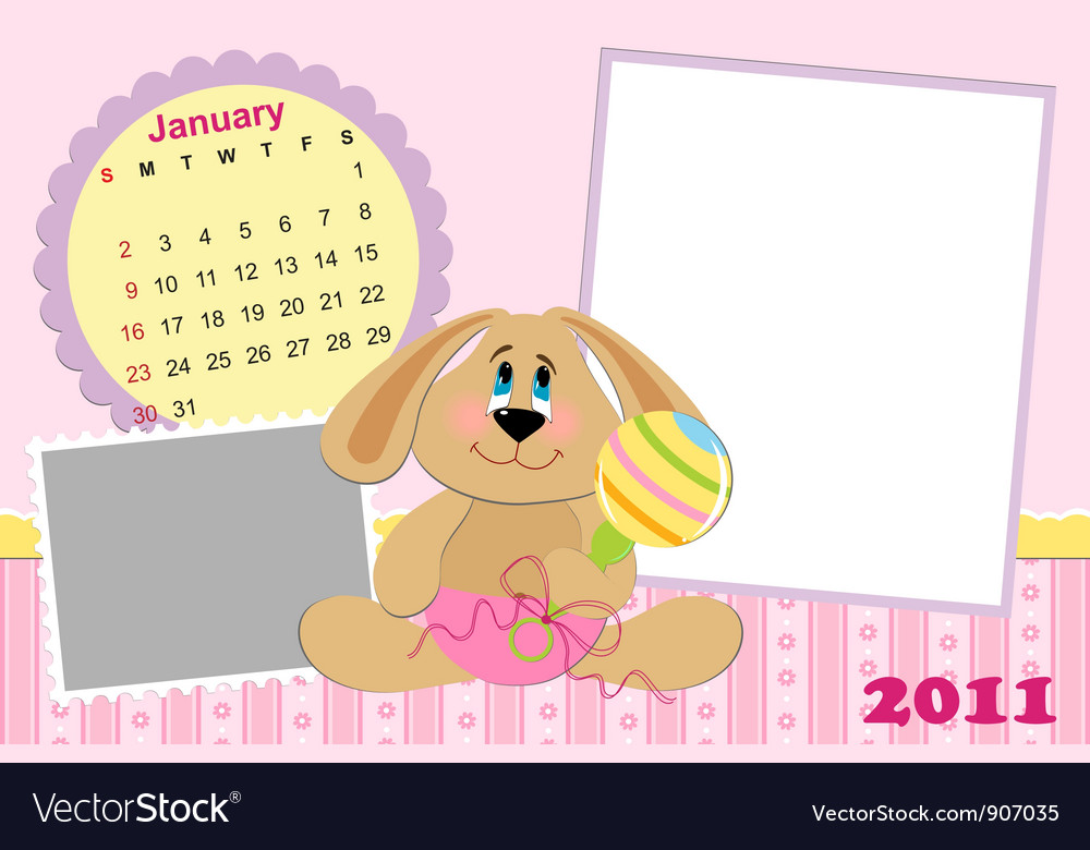Babys monthly calendar for january 2011s vector   Price: 1 Credit (USD $1)