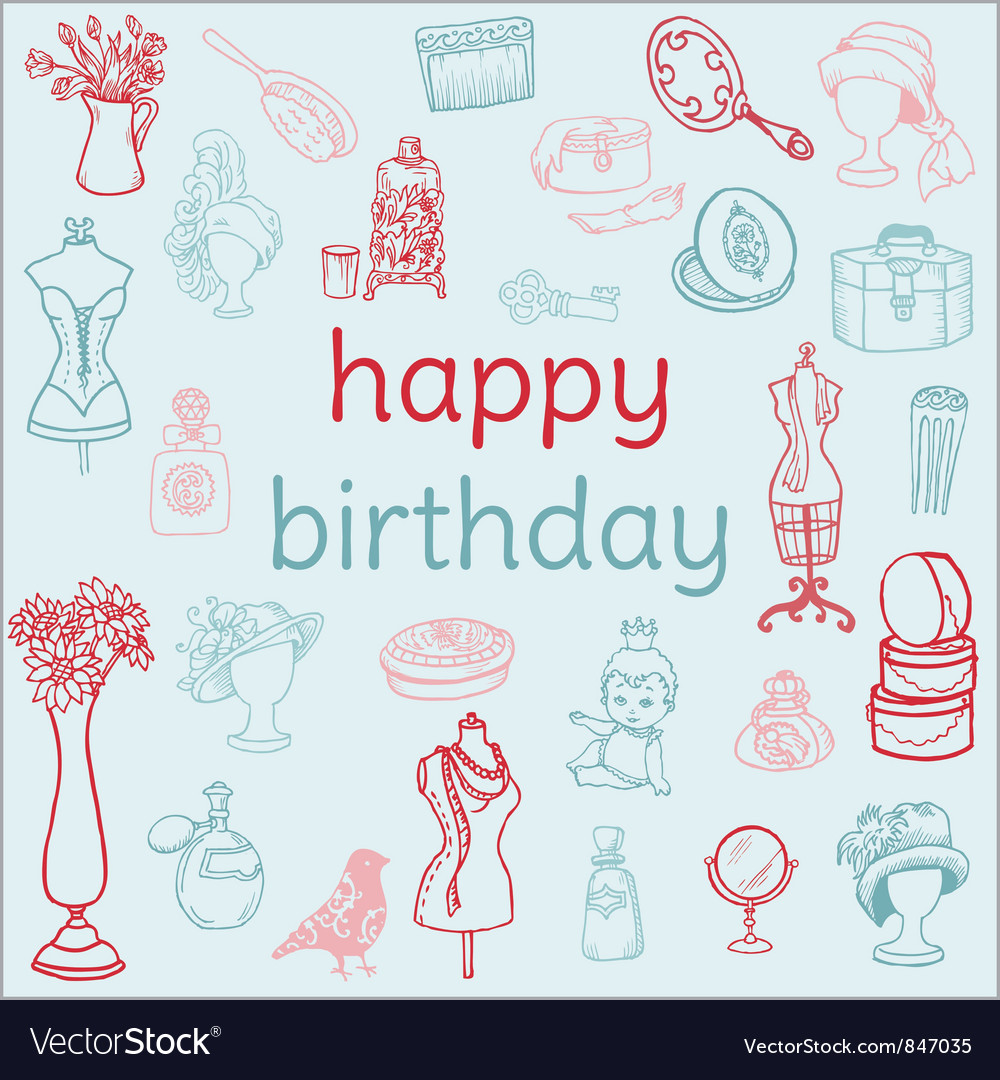 Birthday card - with hand drawn elements vector | Price: 1 Credit (USD $1)