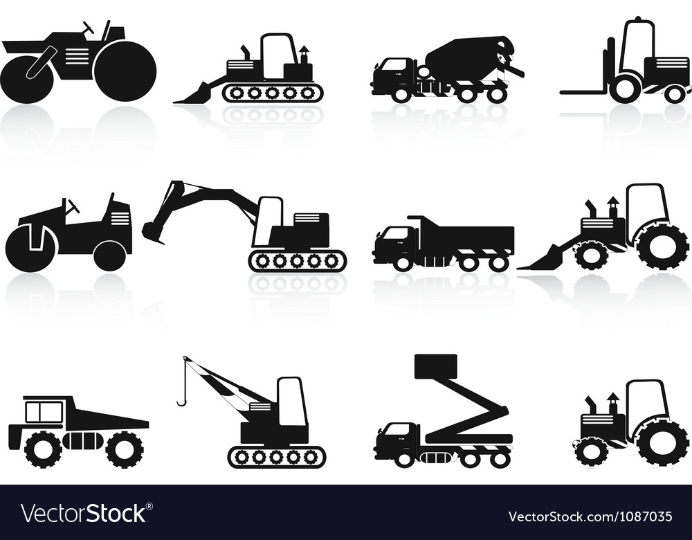 Black construction vehicles icons set vector   Price: 1 Credit (USD $1)