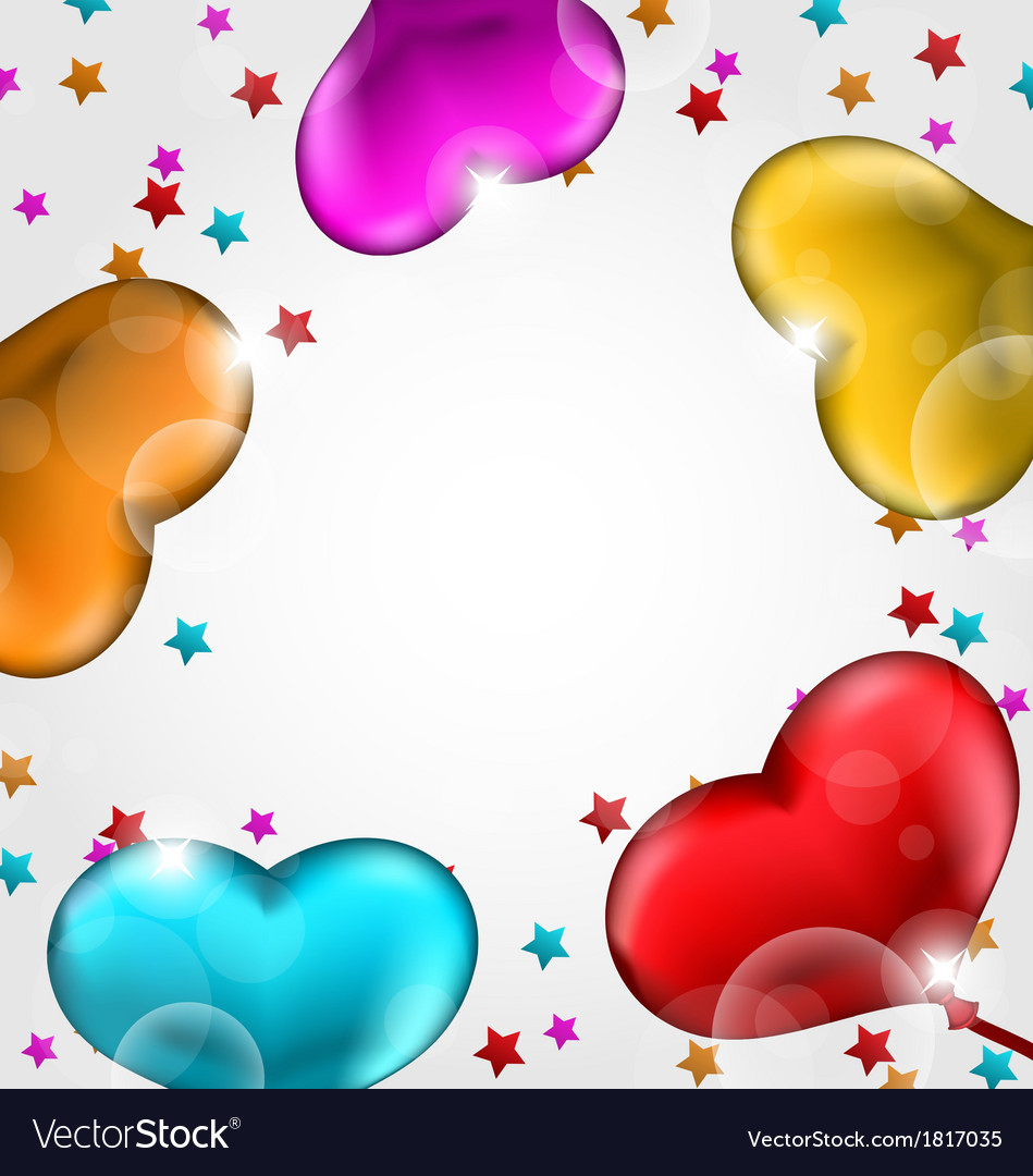 Collection glossy hearts balloons for valentine vector | Price: 1 Credit (USD $1)