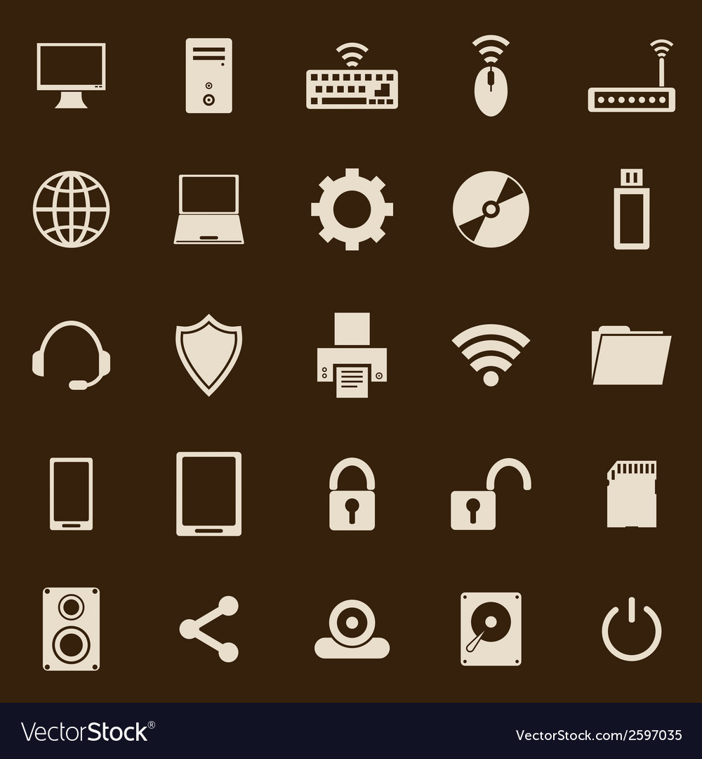Computer color icons on brown background vector | Price: 1 Credit (USD $1)