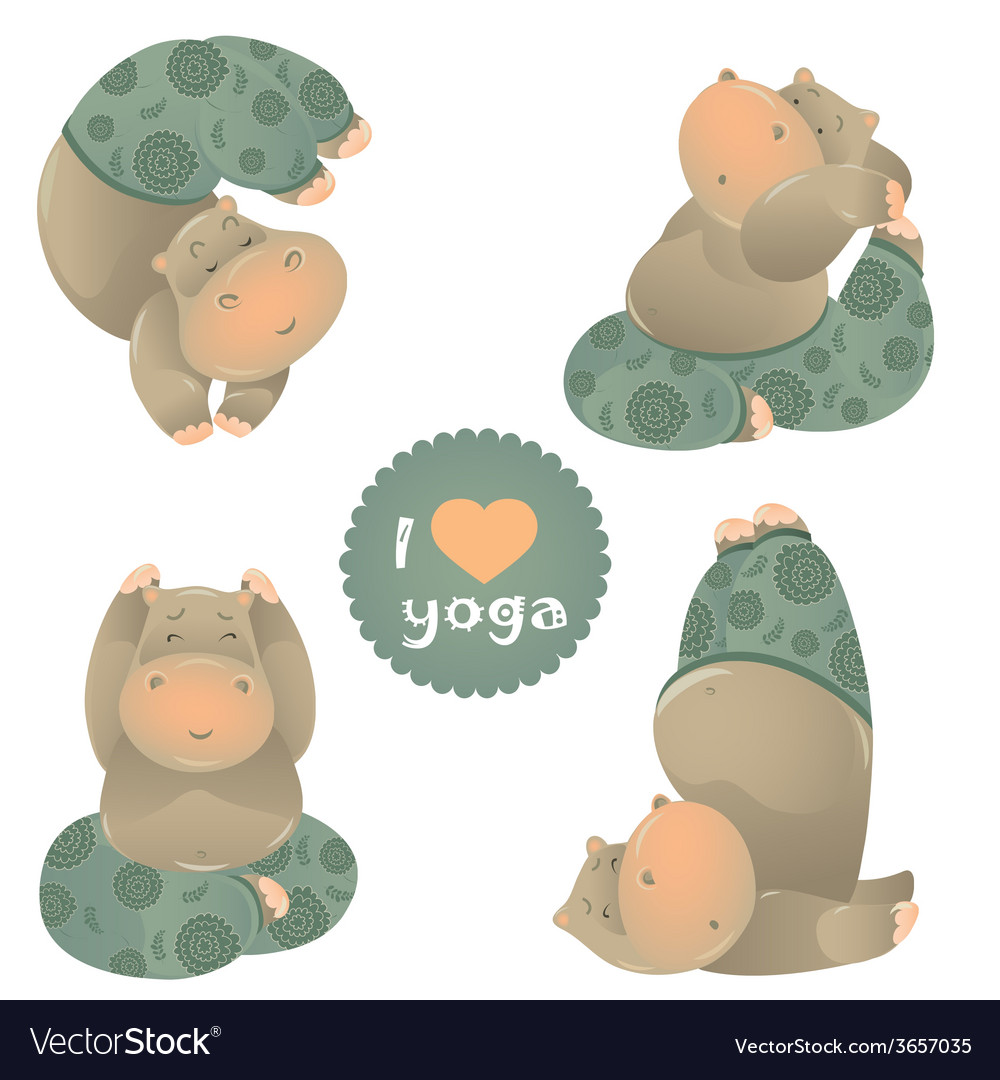 Cute animal of yoga pose vector | Price: 1 Credit (USD $1)