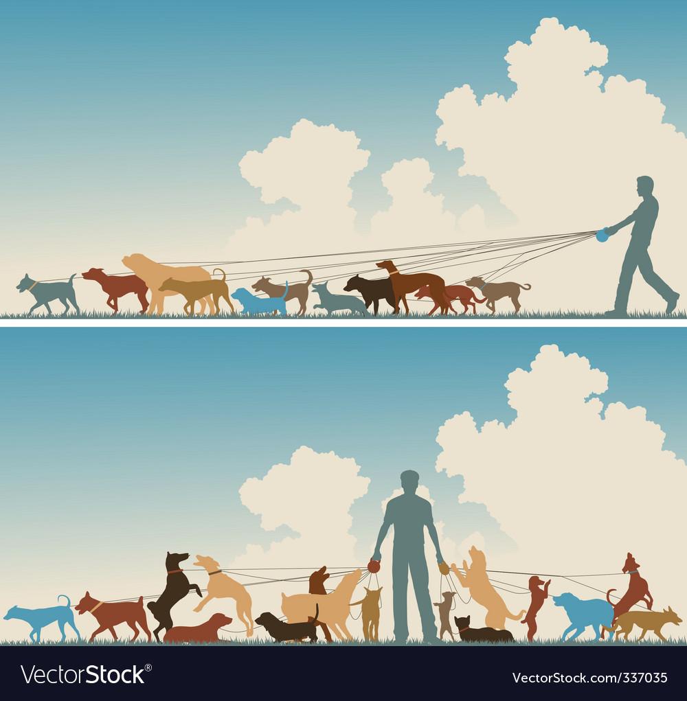 Dog walker vector | Price: 1 Credit (USD $1)