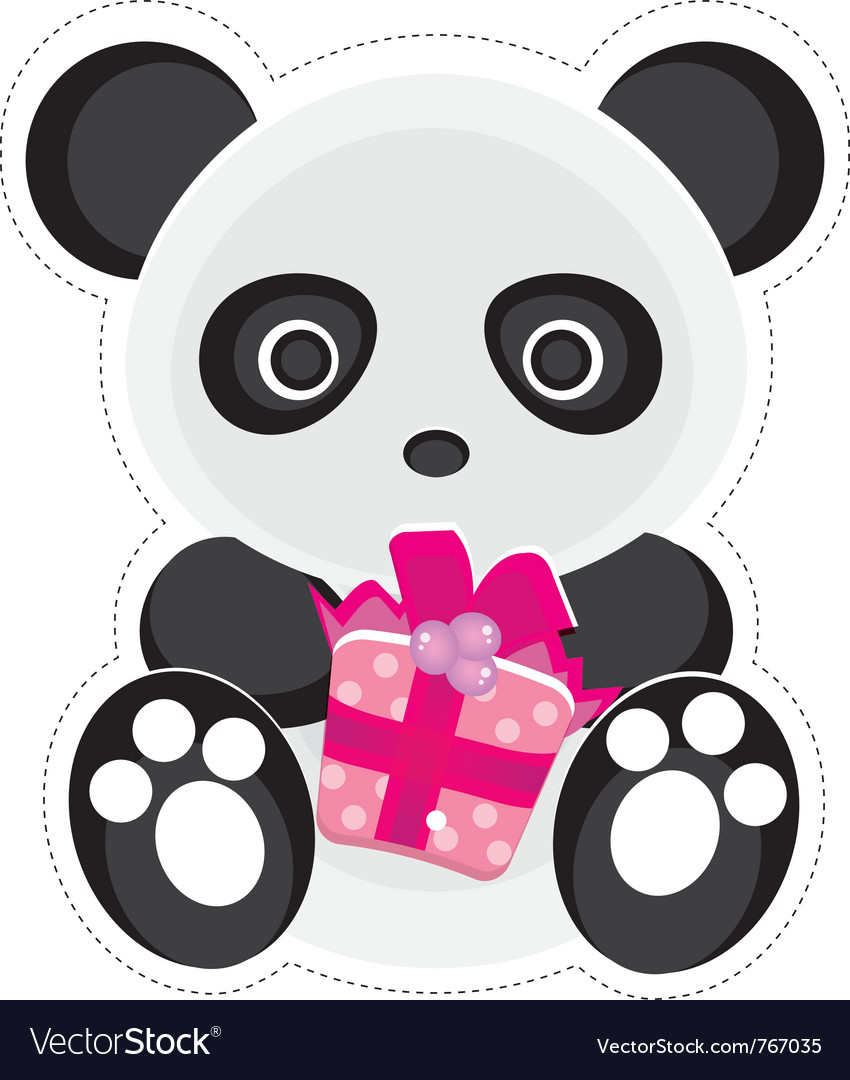 Gift panda vector | Price: 1 Credit (USD $1)
